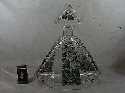 ANCIEN GRAND FLACON PARFUM CRISTAL EMAILLE CARAFE  BACCARAT St LOUIS PERFUME