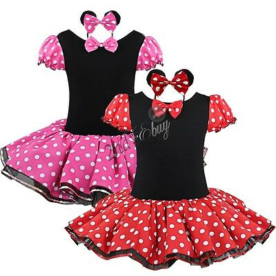 Girl Minnie Mouse Halloween Costume Outfits Party Fancy Dress Up Tutu Ballet Kid