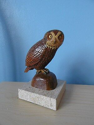 Vintage Black Forest  wooden hand carved owl on mounted solid marble base