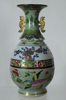 Rare Antique Chinese Hand-painted Blue/White/Gilt Canton Famille Rose Vase