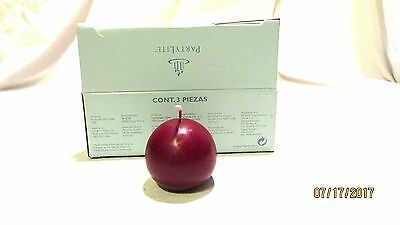 """Partylite Mulberry 2"""" Ball Candles New Vintage 3 Candles"""