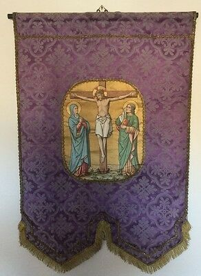 French antique, ecclesiastical, religious tapestry wall hanging