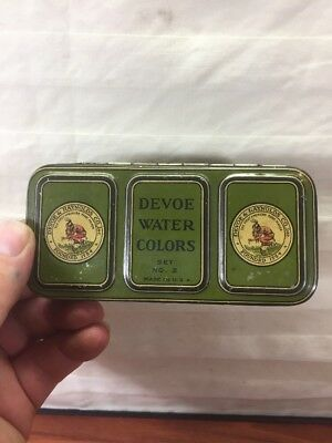 Vintage Indian Collectible Devoe Water Colors Set No.2 Advertising Tin Paint Set