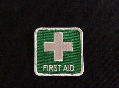 Iron On or Sew on FIRST AID BADGE PATCH > 7.5cm x 7.5cm 100% QUALITY EMBROIDERED