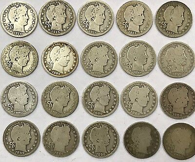 Lot of 20 Different Dates Barber 90% Silver Quarters 1892-1916 *8