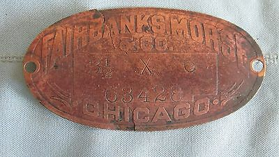 Original Brass Fairbanks Morse Company Mining Equipment Tag-Chicago-Mines-Miners