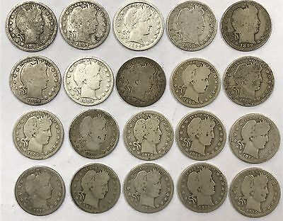 Lot of 20 Mixed Dates Barber 90% Silver Quarters 1892-1916 *16