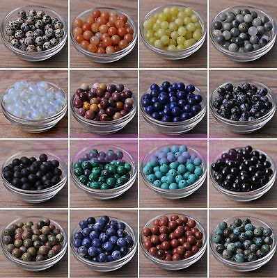 Bulk Wholesale 4/6/8/10mm Round Natural Stone Gemstone Loose Spacer Beads Crafts