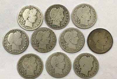 Lot of 10 Different Barber Quarters 1892-1916  *21