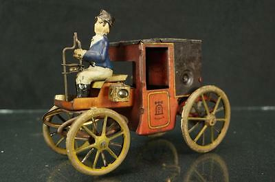 Vintage Lehmann German Tin Horseless Motor Coach 420 W/ Driver Wind Up Toy