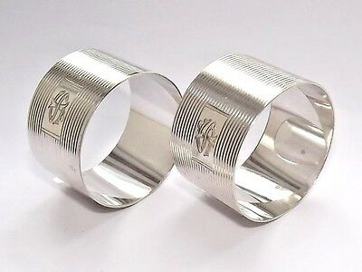 Superb Antique Heavy Solid Silver Sterling Pair Of Napkin Rings Birmingham 1917