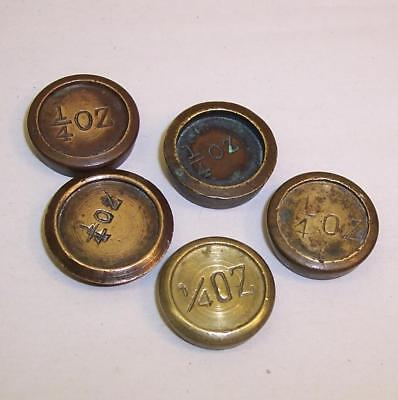 5 Vintage/Antique QUARTER OUNCE Brass SCALE WEIGHTS - 1/4oz