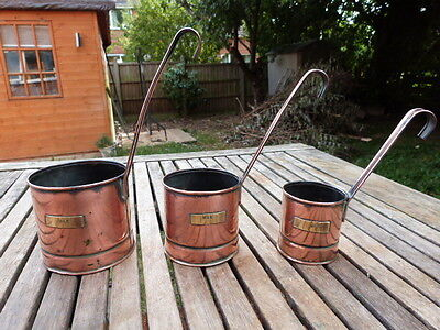 Lovely Set Of Three Graduated Antique Vintage Copper Milk Measures.