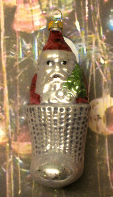 """Santa In Stocking - """"Vintage Style"""" Ornament From Lauscha, Germany"""