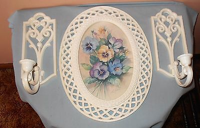 "NICE VTG HOMCO PANSY PICTURE & CANDLE SCONCES Fran Anderson WHITE ""WICKER"" FRAME"