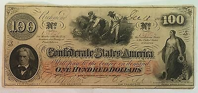 1862 Confederate States of America Hundred Dollar Bill Note Currency $100