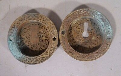 Set Of Round Cast Bronze Victorian East Lake Key Hole Covers For Pocket Doors #1