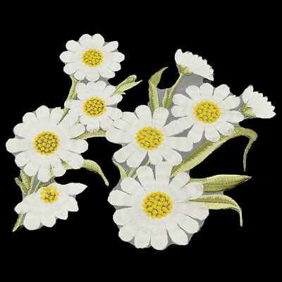 1 Pc White Daisy Chrysanthemum Sew On Patch Clothing Applique DIY Sewing Craft