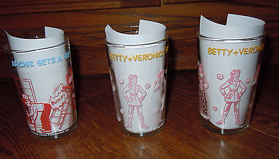 Archie Comics Lot Of 3 Vintage 1971 1973  Welchs Jelly Drinking Glasses