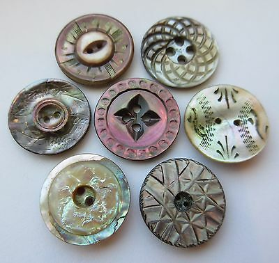 Lovely Lot of Antique~ Vtg Carved MOP Shell BUTTONS Dyed, Victorian, Incised++