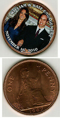 William & Kate Engagement Colorized Large Penny