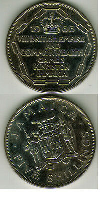 1966 Jamaica Viii British Empire & Commonwealth Games 5 Shillings