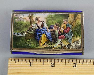 19thC Antique 930 Sterling Silver Guilloche Enamel Painted Snuff Box Case, NR
