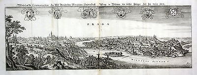 1650 Praha Prague Czech Panorama view Ansicht Kupferstich antique print Merian