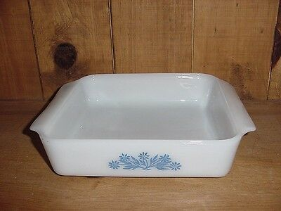 "A/H FIRE KING CORNFLOWER BLUE 8"" Square BAKING DISH PAN"