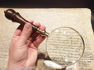 """4"""" 5x Antique Style Magnifying Glass Brass w Wood Turned Hand Lens"""