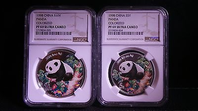 1998 China S5Y & S10Y Colorized Silver Panda Set NGC PF 69 Ultra Cameo