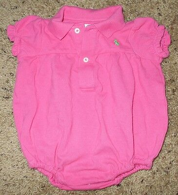 Ralph Lauren Baby Girl's Pink Polo Bodysuit Size 3 Months