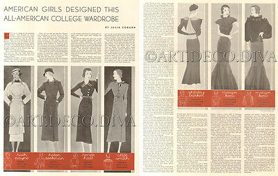 VTG 1930's American Girl Fashion Design COLLEGE Wardrobe ART DECO Clothing Pages