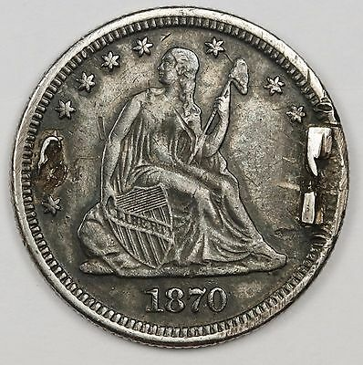 """1870 """"p or cc"""" Liberty Seated Quarter.  Love Token.  X.F.  See Below info 112975"""