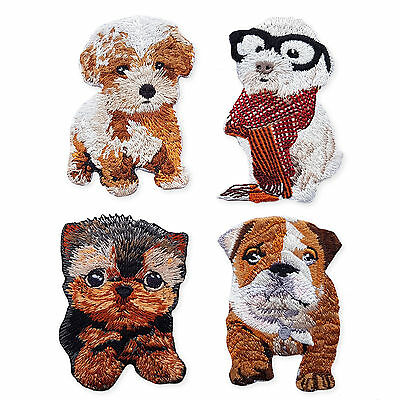 Cute Puppies Dog Bulldog Terrier Iron Sew on Appliques Embroidered Patches Motif