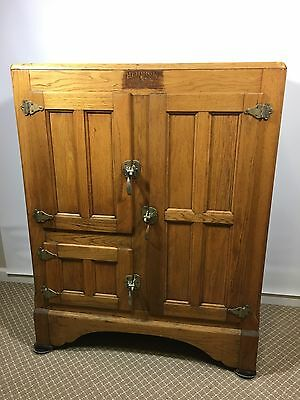 1927 Antique Ice Box No 42 Solid Oak By HERRICK Refrigerator Company Waterloo IA