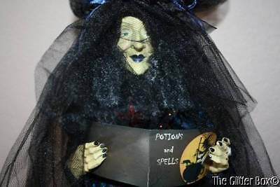 Halloween Tabletop Witch Black With Blue Table Centerpiece Decoration Witch Doll