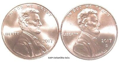 2017 P D Lincoln Shield Cent 2 BU Coin Set From OBW Rolls