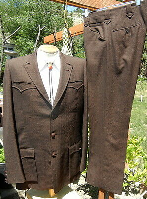 Vintage Bespoke FLECK Western Suit 42L 34x32.5 - TALL Classy Cowboy DATED 1961