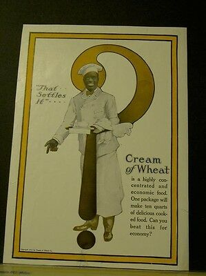 1918 Ethnic Cream Of Wheat Breakfast Food Cereal Chef Box Eat Decor Ad 22739