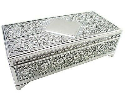 Personalised Large Antique Silver Oblong Shaped Trinket Jewellery Box Engraved