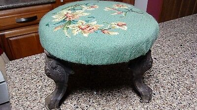 Antique Victorian Foot Stool Needlepoint stool Cast Iron Legs Edwardian stool