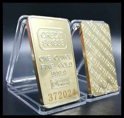 1 oz. Credit Suisse Gold Plated Bullion Bar with SERIAL NUMBER