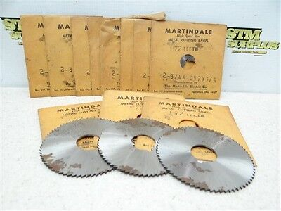 """Lot Of 11 Hss Slitting Saws 2-3/4"""" Dia W/ 3/4"""" Bores Martindale"""