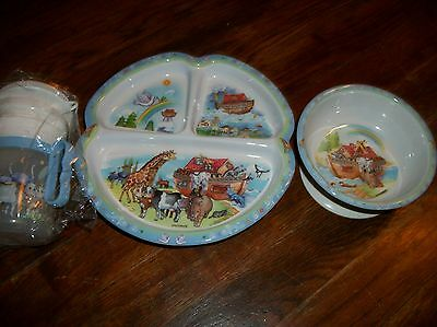 Peco Melamine Ware Noah's Ark  Plate Bowl and cup set New
