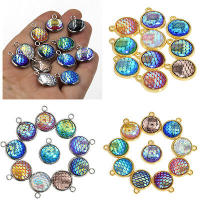 10PCS Resin Metal Mermaid Fish Scale Charms Pendant Necklace DIY Jewelry 12mm