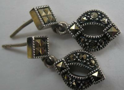 Judith Jack Designer Mint Modernist Art Deco Marcasite Sterling Dangle Earrings