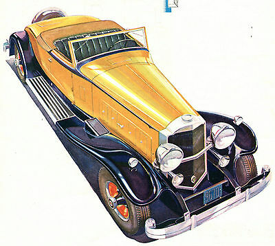 1931 Original Packard COUPE ROADSTER Full Page COLOR Car AD. Yellow Convertible