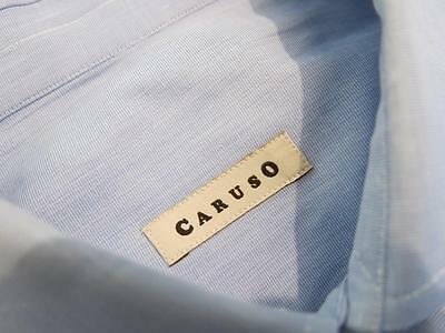 Caruso Solid Blue Woven Cotton Dress Shirt 39 15 1/2-32