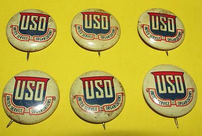 Vintage Lot Of 6 Uso Pinback Buttons Free Us Shipping